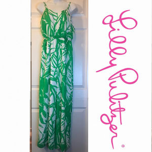 Lilly Pulitzer Green Leaf Sleeveless Jumpsuit - XS
